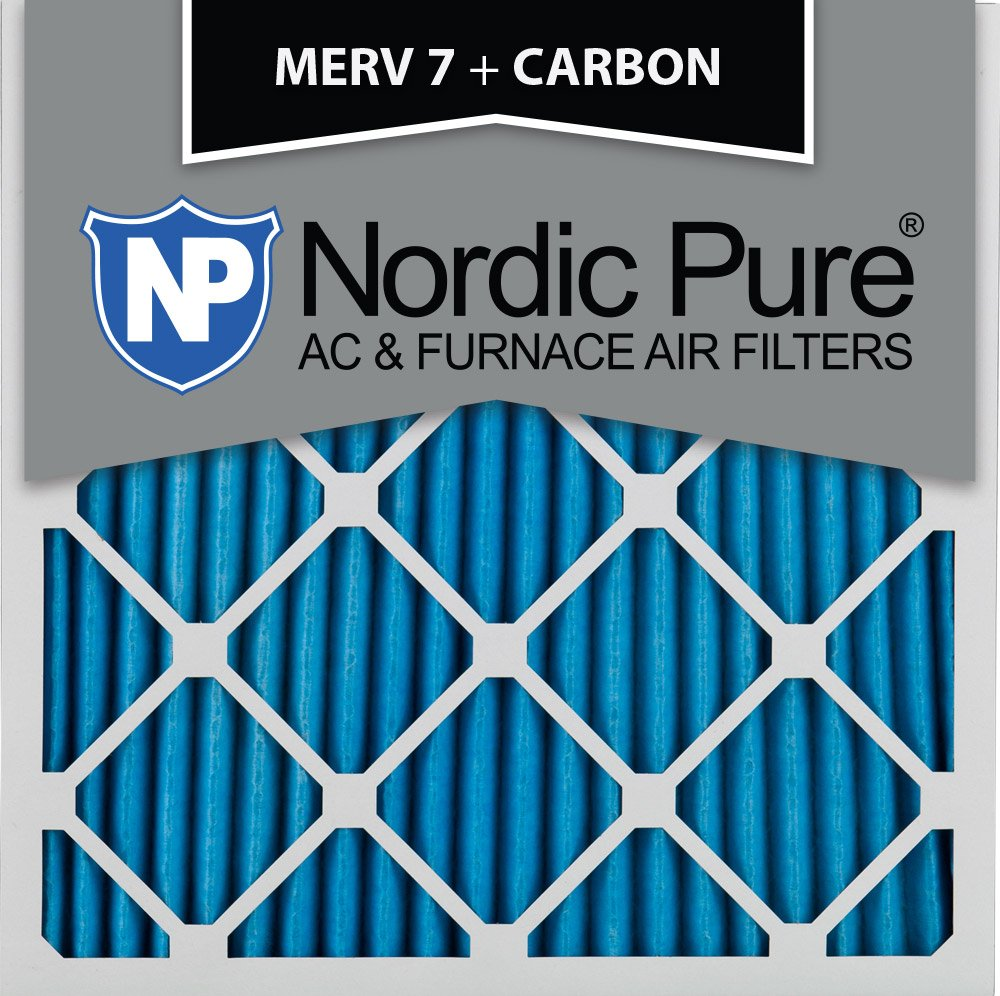 18x18x1M7+C 2 Piece Nordic Pure 18x18x1 MERV 7 Plus Carbon Pleated AC Furnace Air Filters