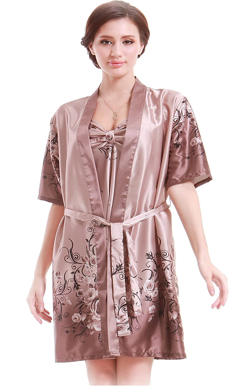 Women Gorgeous Faux Silk Sleepwear Loungewear Dress Robe 2 pcs Set at  Amazon Women s Clothing store  b74242946