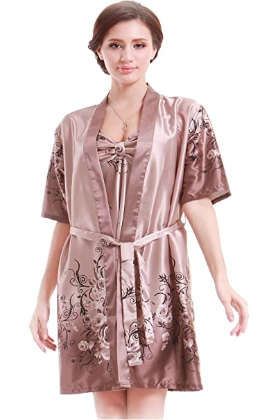 Women Gorgeous Faux Silk Sleepwear Loungewear Dress Robe 2 pcs Set ... 71662121f