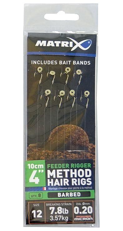 Browning #10 Feeder Method Vorfachhaken mit Pellet-Band Bronze 10lbs,4,5kg /Ø0,22mm 10cm 8St/ück,