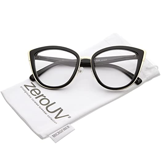 0c499dda33f zeroUV - Oversize Rimmed Metal Frame Clear Lens Cat Eye Glasses 55mm (Black  Gold