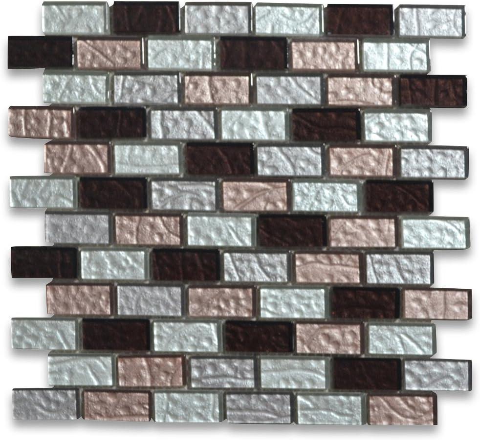 Stone Center Online Deep Red Pink White And Light Grey Satin Glass 1x2 Brick Mosaic Tile For Kitchen Backsplash Bathroom Flooring Shower Surround Dining Room Entryway Corrido Spa 1 Sheet