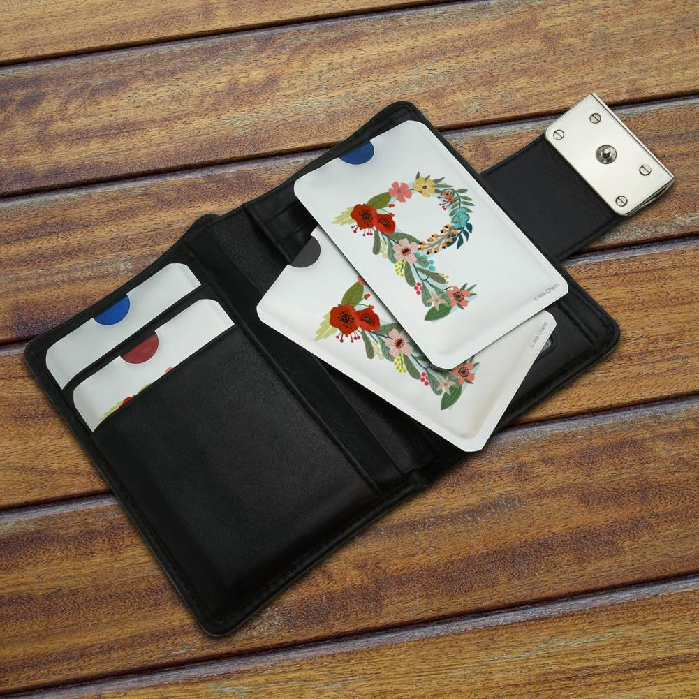Letter P Floral Monogram Initial Credit Card RFID Blocker Holder Protector Wallet Purse Sleeves Set of 4