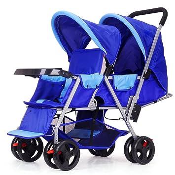 Bicicleta para Niños Cochecito Doble Cochecito De Bebé Doble Puede Sentarse Plegable Plegable Carrito De Bebé Doble Ligero para Recién Nacido,Blue: ...