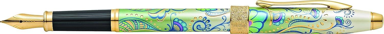 Attributs plaqu/és or // motifs floraux /Écrin et recharges pour stylo plume noir incluses CROSS Botanica Lys vert Stylo plume rechargeable : pointe moyenne