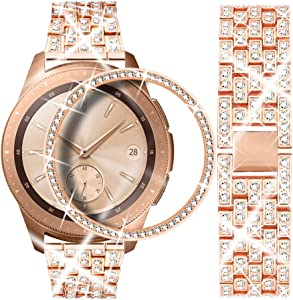 Dsytom Compatible with Galaxy Watch 42mm Band Women+ Bezel, 20mm Jewelry Stainless Steel Watchband & Bezel Ring Cover Diamond Strap Bracelet for Samsung Galaxy Watch 42mm(Rose gold)