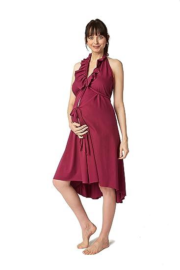 Vestidos de mujer vestido de volantes, algodón trabajo - Rojo -