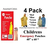 "4 VAS Childrens 40"" X 60"" Emergency Child / Kid Rain Poncho - Assorted Colors"