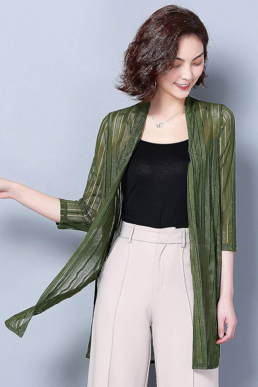 YI HENG MEI Womens Casual Office 3//4 Sleeve Open Front Sheer Long Cardigan Sweater Cover Up