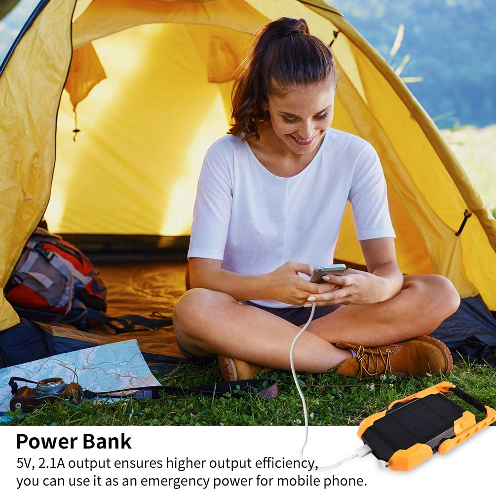 RUNACC Projecteur de chantier /à LED solaire rechargeable USB avec /énergie solaire portable /étanche /à /énergie solaire /à LED et support de travail avec rotation /à 360/° 1000 lm 4 modes