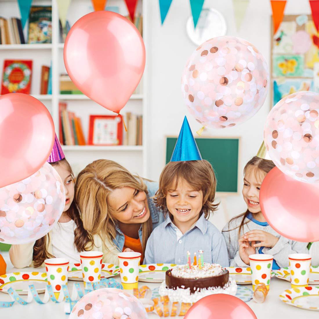 Dolank Rose Gold Balloons Birthday Decoration Set 12 Latex Pre Filled Confetti