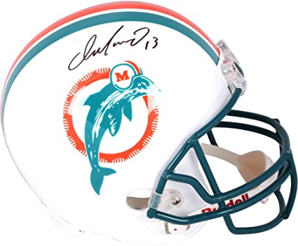 d174adaa675 Amazon.com  Dan Marino Miami Dolphins Autographed Riddell Replica Throwback  Helmet - Fanatics Authentic Certified  Sports Collectibles