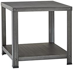 Ashley Furniture Signature Design - Hattney - Vintage Casual Square End Table - Industrial Style - Gray