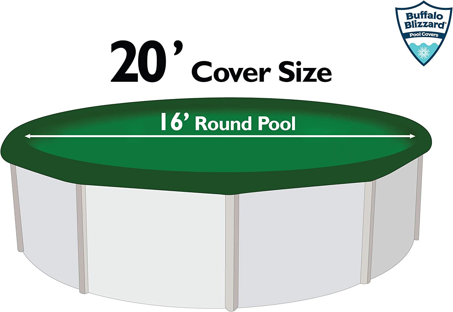 Buffalo Blizzard Supreme Winter Cover for 15-Foot Round Above-Ground Swimming Pools Green//Black Reversible 4-Foot Additional Material for Secure Installation