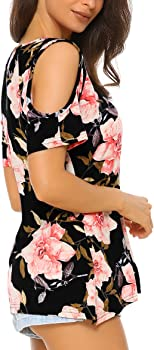 0444b67504edc Womens Floral Tie Front Round Neck Long Sleeve Casual Top Blouse. Mixfeer  Women s Floral Print Cut Out Shoulder Short Sleeve Tunic Tops T Shirt ...