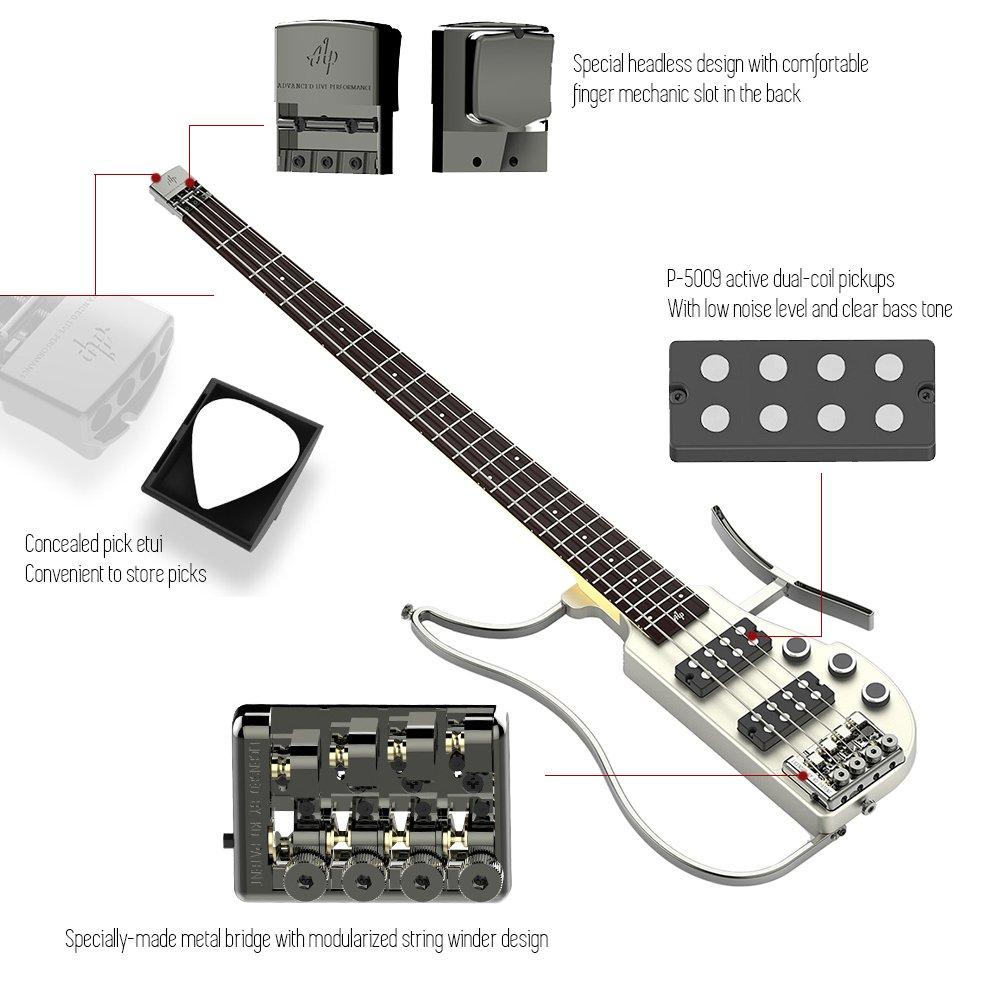ammoon ALP RG-100 Plegable Guitarra eléctrica baja Headless Travel Diapasón de palisandro de mástil de arce de cuerpo de aleación de aluminio con Gig Bag: ...