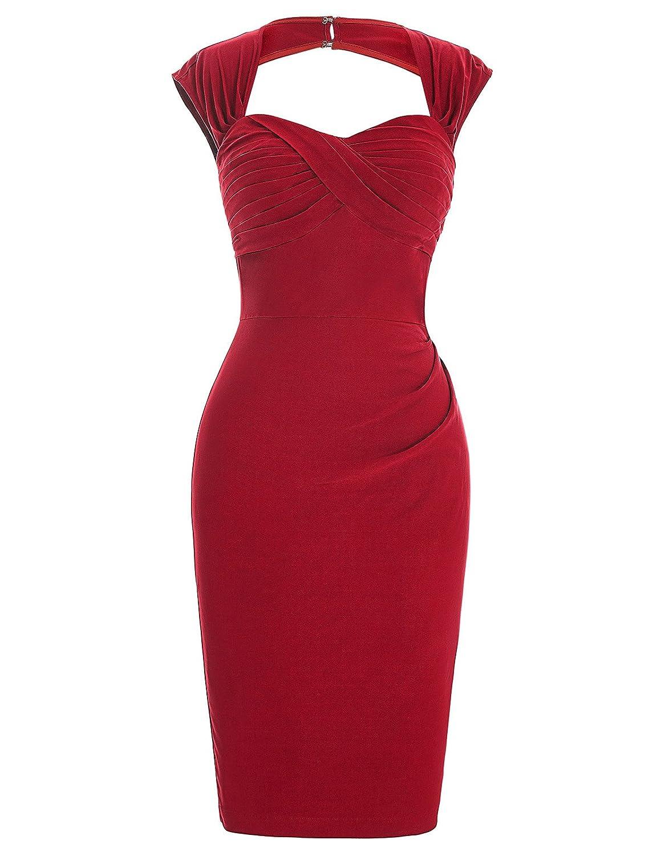 TALLA 44. Belle Poque® Retro Elástico Lápiz Vestido Sin Mangas y Hueco Espalda Vestido Esbelto Bodycon Vestido BP155 Rojo 44