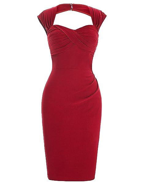 7c9ee20bc8e Dresses for Wedding Guest Pencil Dress Plain Red Pencil Dress Size 4  BP155-1  Amazon.co.uk  Clothing
