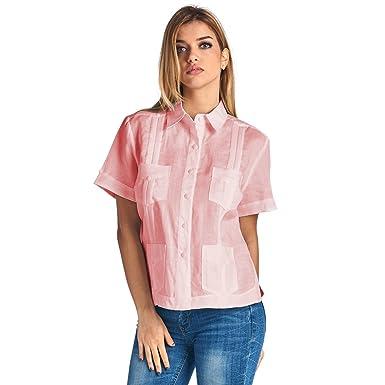 fb6c165987d Amazon.com: Mojito Lady 100% Linen Gyatabera Short Sleeve Top: Clothing