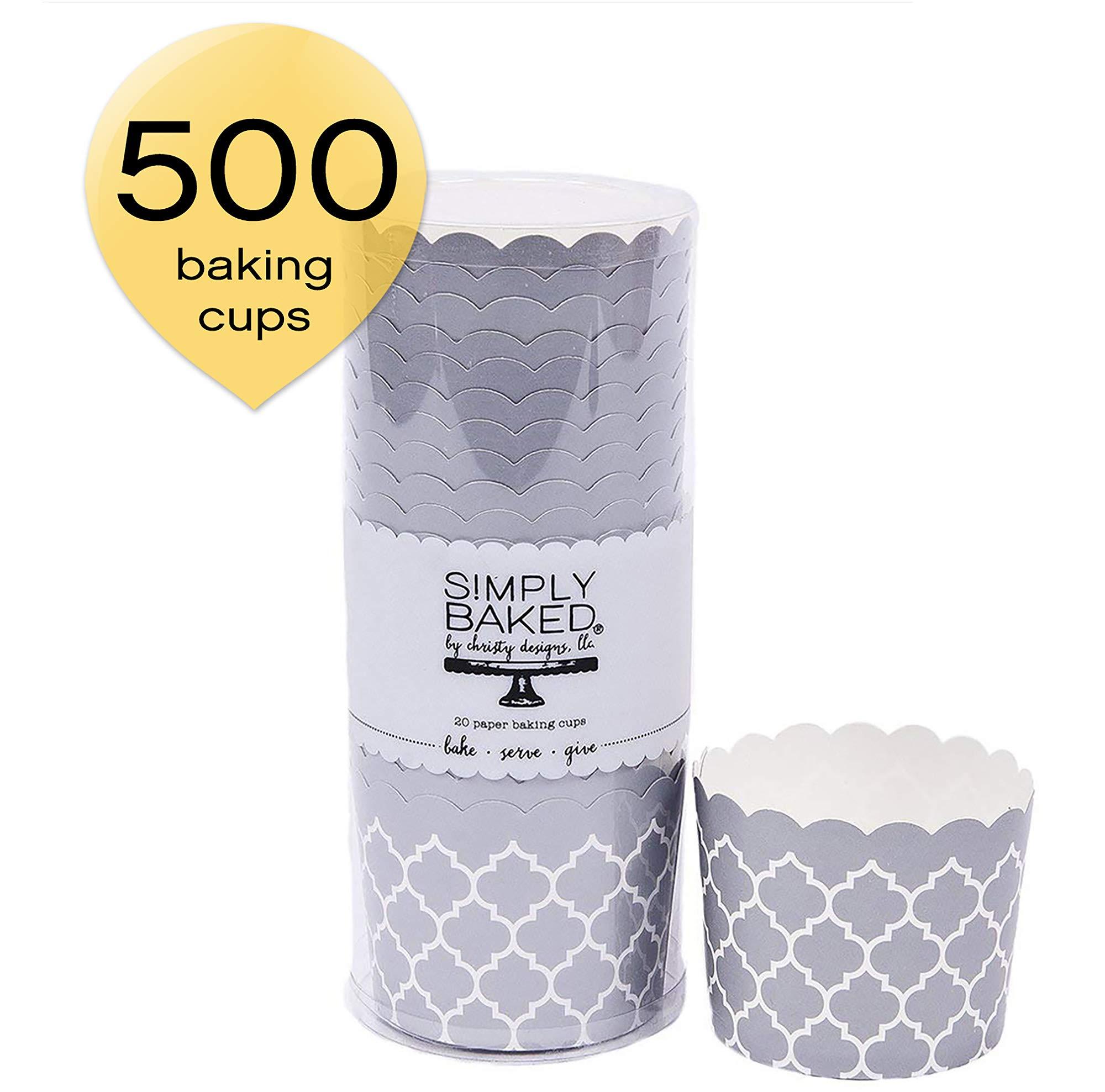 Simply Baked CLG-113-C Metallic Quadrfoil Large Paper Baking Cup, 500-Pack, Silver Quadrafoil