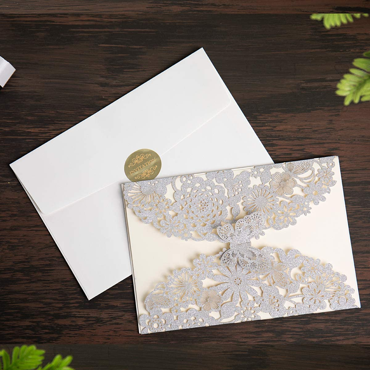 Amazon.com: Hosmsua 20x Laser Cut Lace Flora Wedding Invitation Cards with  Butterfly and Envelopes for Bridal Shower Engagement Quinceañera Graduation  Party (Silver Glitter): Health & Personal Care