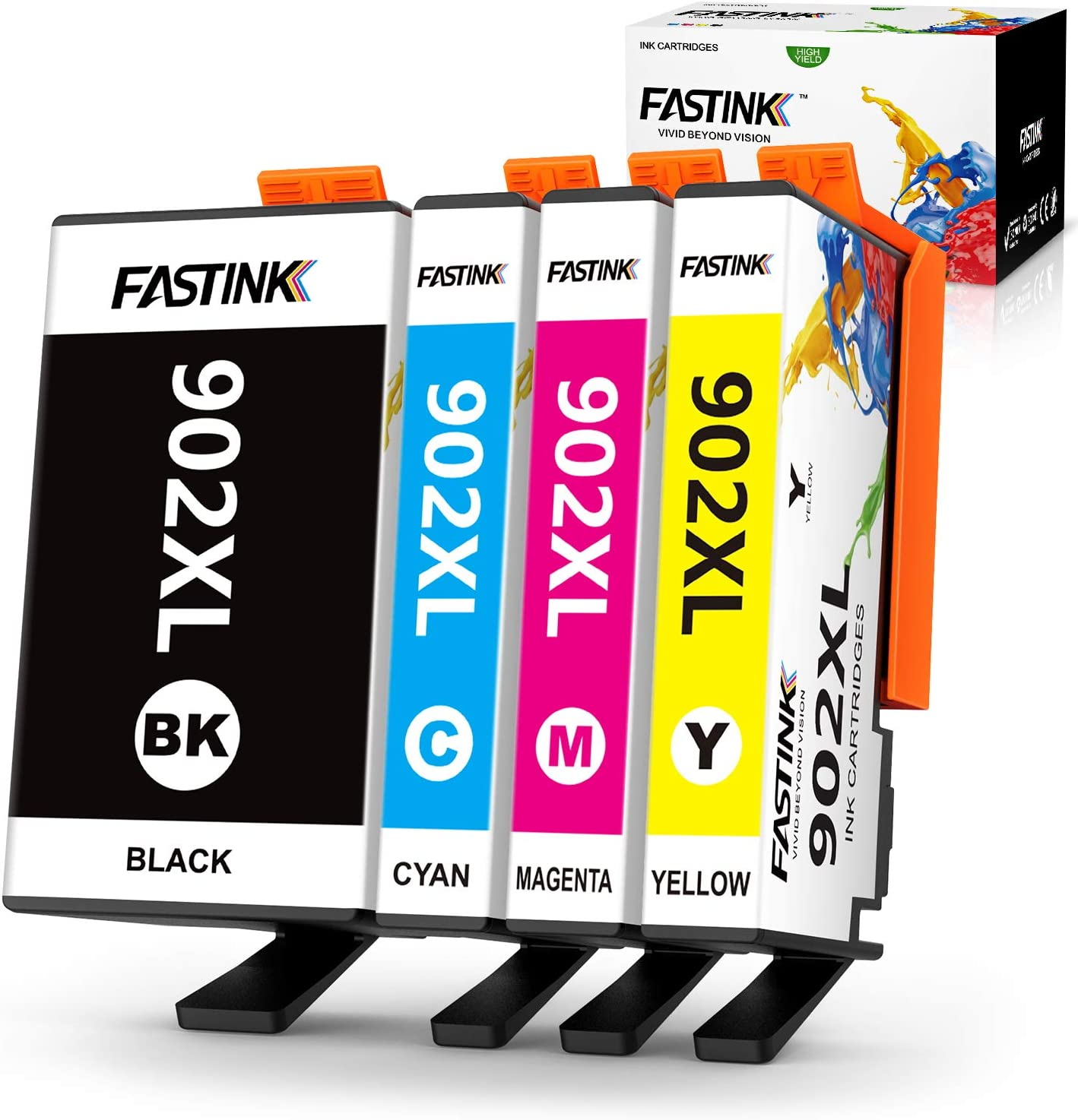 FASTINK Compatible HP Ink Cartridges Replacement for HP 902 XL 902XL with Upgraded Chips for OfficeJet Pro 6954 6960 6962 6968 6978 Printers,4 Packs, (1 Black, 1 Cyan, 1 megenta, 1 Yellow)