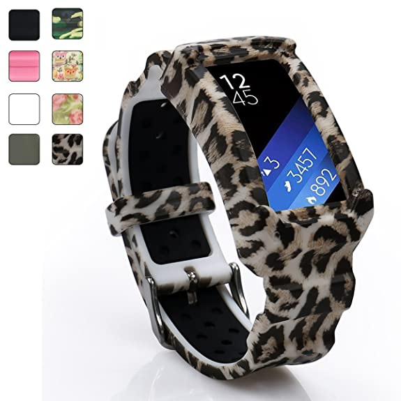 Wonlex Fit2 SM-R360 Accessories Band, Rugged Silione Rubber Cover Protective Case with Strap Bands for Samsung Gear fit 2 Smartwatch (Leopard)
