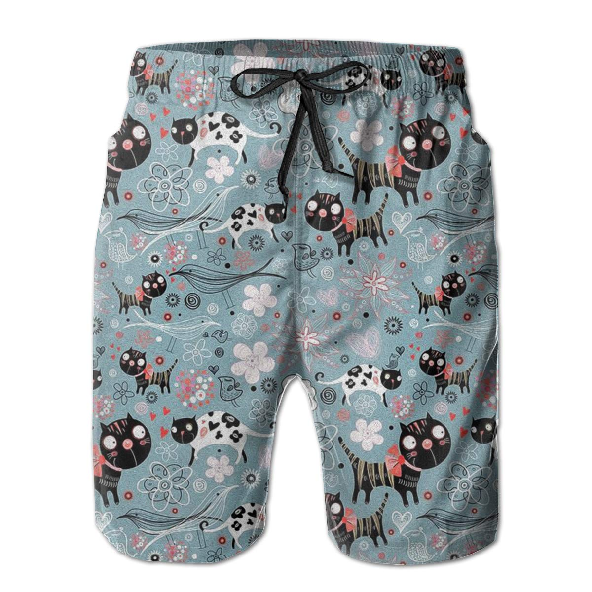 Mens Swim Trunks Cats and Flowers Quick Dry Beach Board Shorts with Mesh Lining
