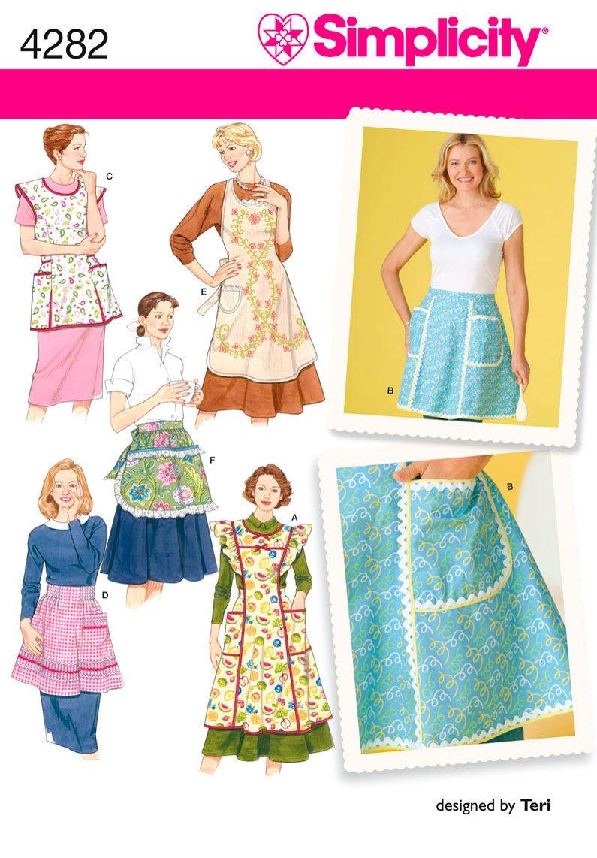 Amazon.com: Simplicity Sewing Pattern 4282 Aprons, A (S-M-L): Arts ...