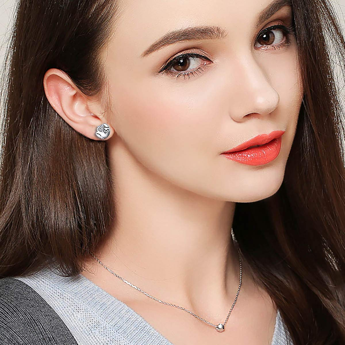 925 Sterling Silver Cute Animal Sloth Earrings Pendant Necklace for Women Girls LINLIN FINE JEWELRY