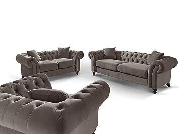 Designer Chesterfield Couch-Garnitur 3-2-1 Mona Stone mit Zierkissen ...