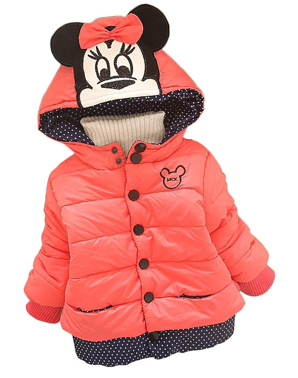 Lemonkids Kids Girl Winter Hooded Cartoon Outwear Quilted Fleece Jacket Coat