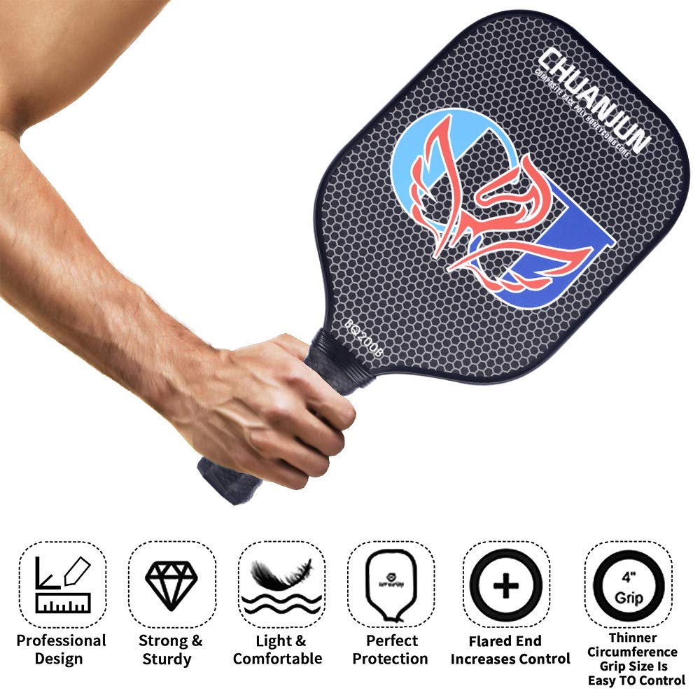 Chuanjun Pickleball Paddle, Graphite/Fiberglass Pickleball Racket, Premium Carbon Fiber Face Honeycomb Composite Core/Ultra Cushion Grip Low Profile ...