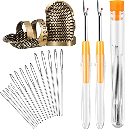 51 Pieces Sewing Tools Kit Including 3 Leather Coin Finger Pads 2 Copper Finger Protector Thimble 2 Sewing Thimble Metal Rings 39 Sewing Needles 2 Seam Ripper 2 Needle Threader and Yarn Scissor