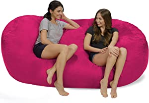 Chill Sack Bean Bag Chair: Huge 7.5' Memory Foam Furniture Bag and Large Lounger - Big Sofa with Soft Micro Fiber Cover - Pink