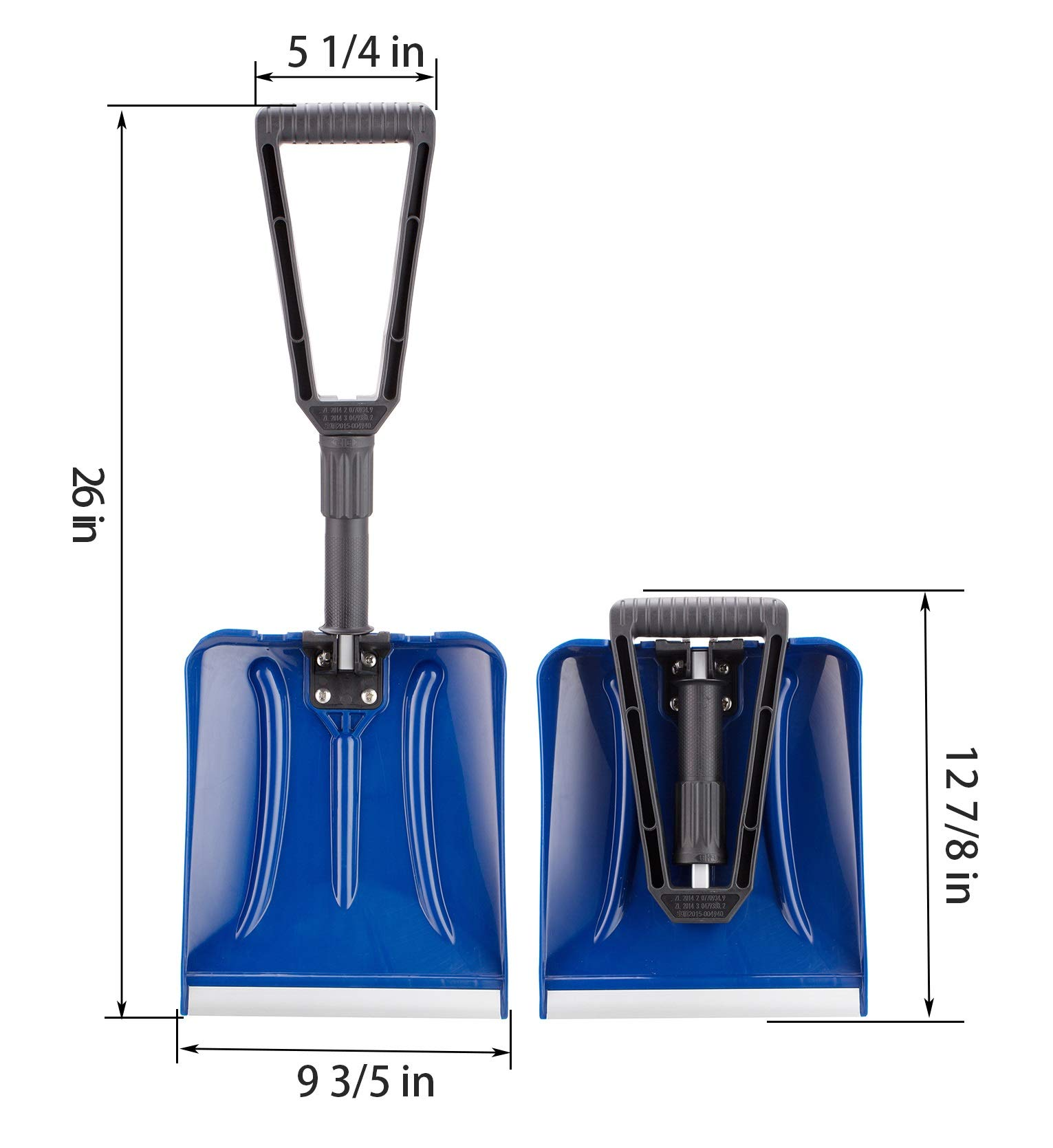 ELIVERN Folding Snow Shovel, Compact Snow Shovel with Comfortable D-Grip Handle and Durable Aluminum Edge Blade, 13\