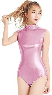 60bcb15f3 Amazon.com  Womens Shiny Metallic Leotard Sleeveless Lycra Spandex ...