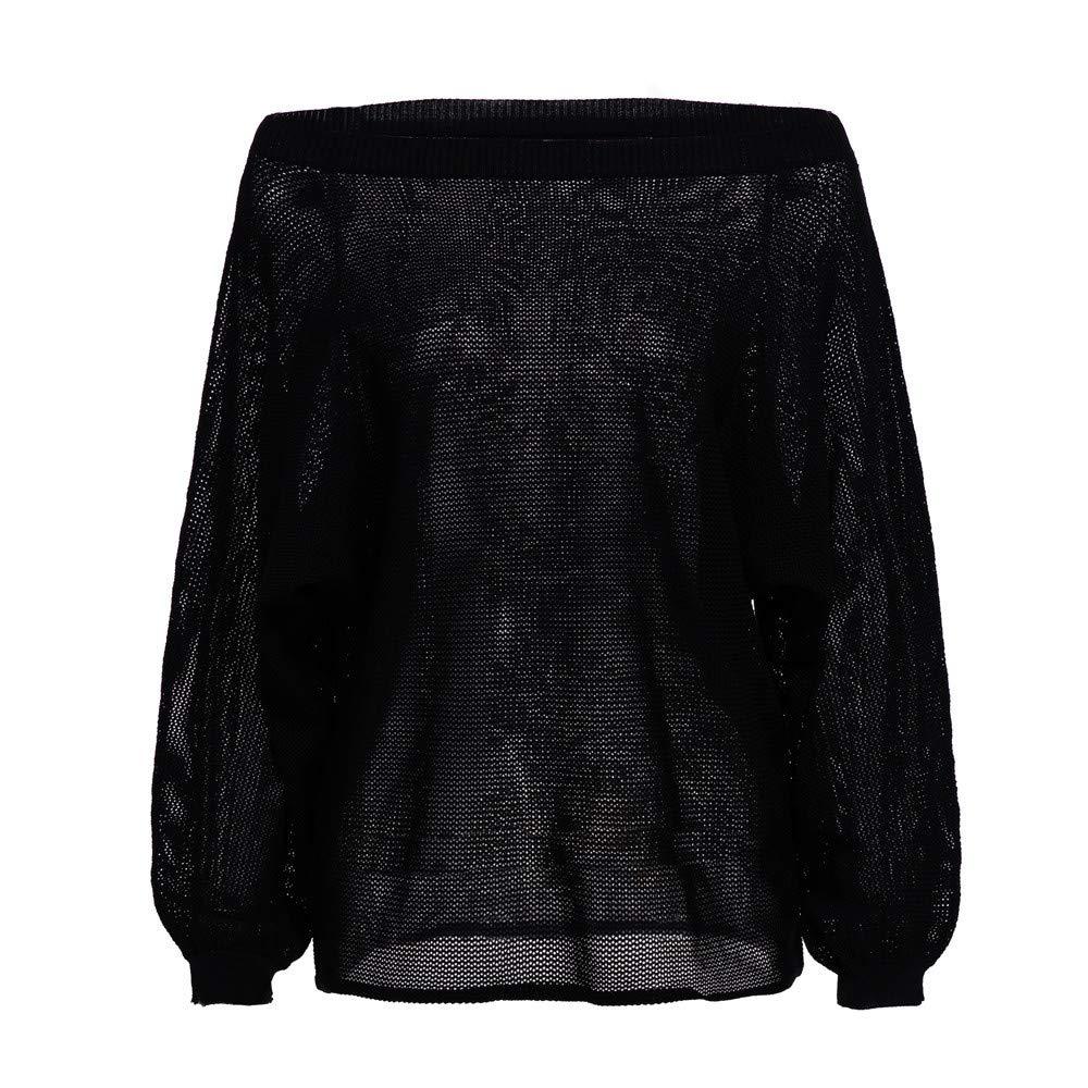 Yvelands Punto para Mujer Lanlern Wrap Frente Suéter Flojo Jersey Jumper Top Blusa: Amazon.es: Ropa y accesorios