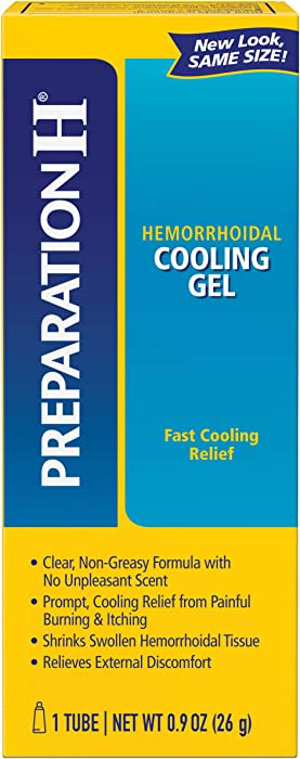Preparation H Hemorrhoid Symptom Treatment Cooling Gel (0.9 oz Tube), Fast Discomfort Relief with Vitamin E & Aloe