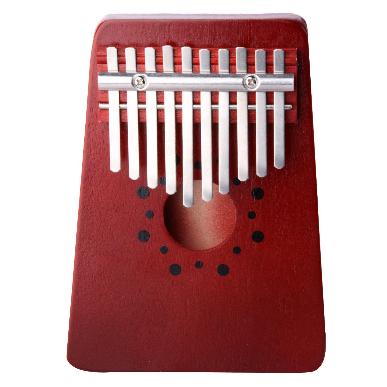 Thumb Piano,10 Key Finger Piano Kalimba Mbira Thumb Piano for Music Lover and Beginner (Pine red)