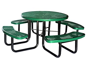 Amazon lifeyard 46 expanded metal mesh commercial round green lifeyard 46quot expanded metal mesh commercial round green picnic table and benches steel frame for watchthetrailerfo