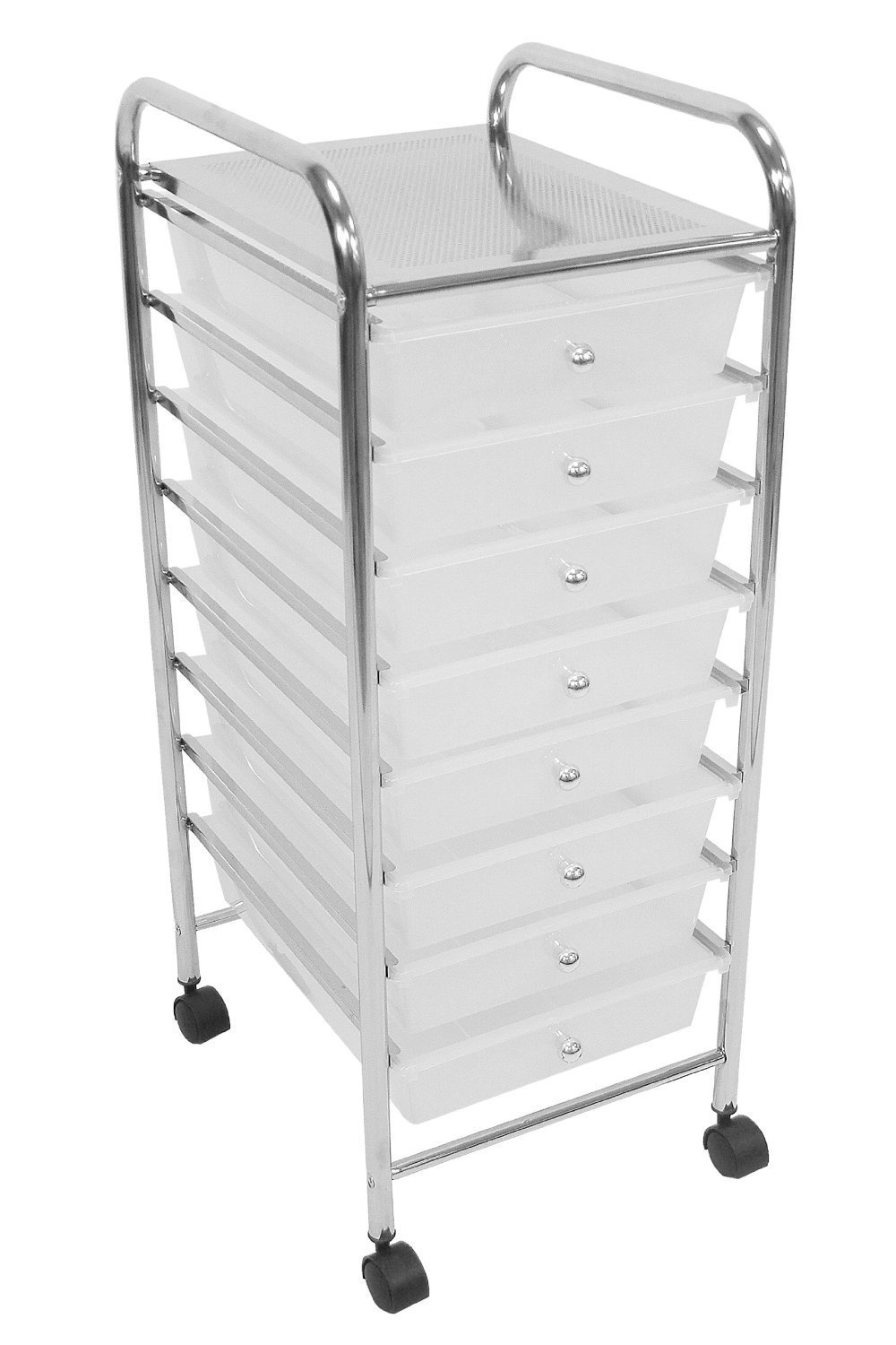 ASPECT Aspen 8-Tier Drawers Home//Office Storage Trolley-Size:33 W D x83 Multi x39 .with Chrome Frame H