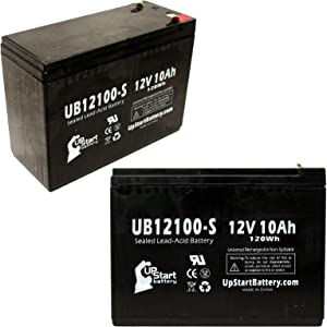 2 Pack Replacement for Pihsiang 109101-77300-10P Battery - Replacement UB12100-S Universal Sealed Lead Acid Battery (12V, 10Ah, 10000mAh, F2 Terminal, AGM, SLA)