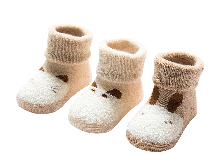 DEBAIJIA 3 Paires Chaussettes Bébé Fille Garçon 0-3 Ans en Coton Biologique Respirant Enfant Chaussette
