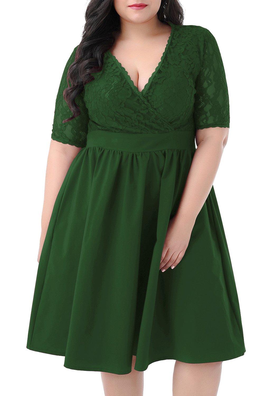 Nemidor Women's Half Sleeves V-Neckline Lace Top Plus Size Cocktail Party Swing Dress (Green, 20W)