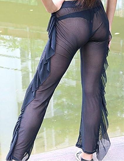 234ce31730 Rachel Charm Sexy Women High Waist See-Through Ruffle Sheer Bikini Bottom  Cover-up Pants at Amazon Women's Clothing store: