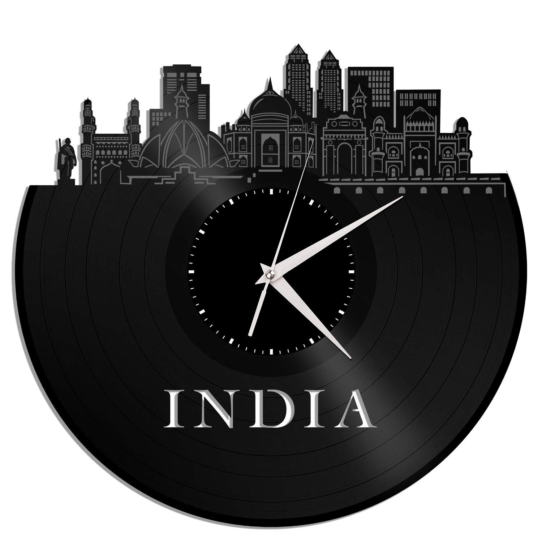 VinylShopUS - India Vinyl Wall Clock City Skyline Unique Gift Home Room Decoration