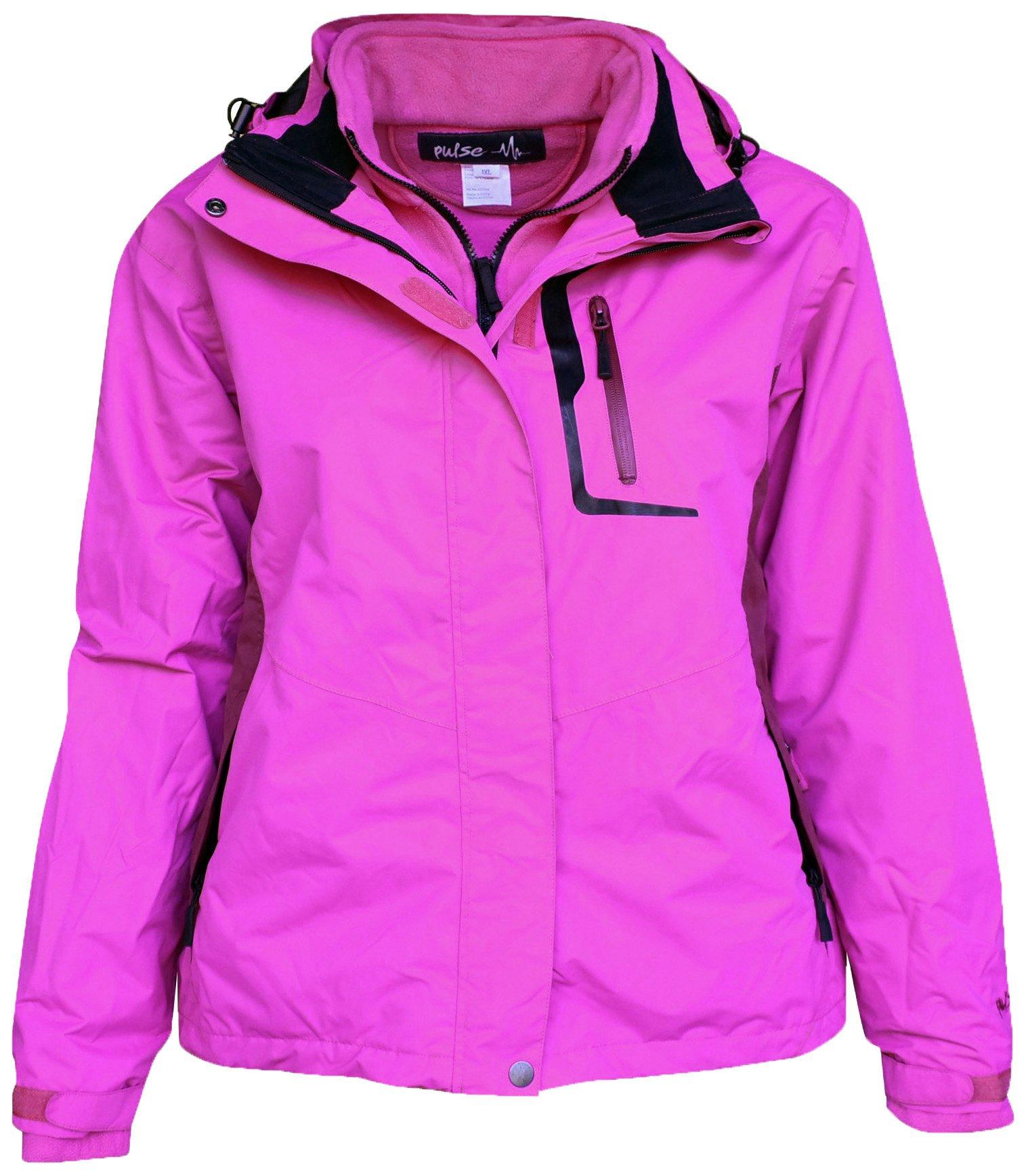Pulse Women's Plus Size 3in1 Denver Ski Jacket Coat (1X (16/18), Hot Pink/Burgandy)