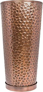 Large Outdoor Planters H Potter Tall Planter with Tray Indoor Copper Flower Pots Decorative Weather Resistant Garden Urn Deck Patio Plants Herbs Flowers Entryway Hallway Porch