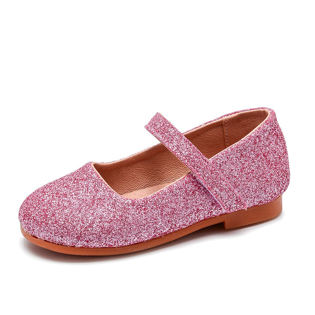 Littlle Kids Girls Glitter PU Leather Wedding Dancing Party Dress Flat Shoes Pink Size 11
